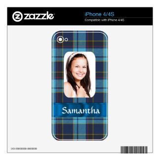 Blue tartan photo template decals for the iPhone 4S