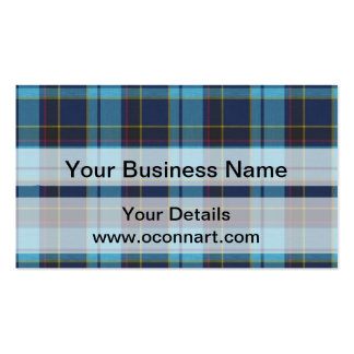 Blue tartan plaid business cards