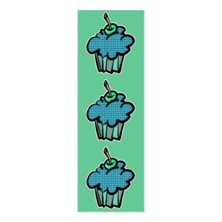 blue tartan plaid cupcake bookmark business card