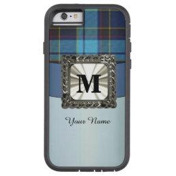 Blue tartan plaid monogram personalized tough xtreme iPhone 6 case