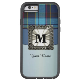 Blue tartan plaid monogram personalized tough xtreme iPhone 6 case