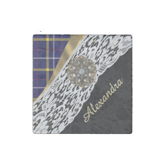 Blue tartan plaid pattern and white lace stone magnet
