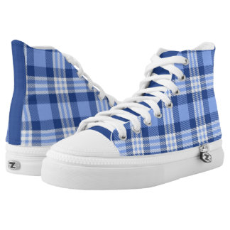 Blue Tartan Plaid Pattern High-Top Sneakers