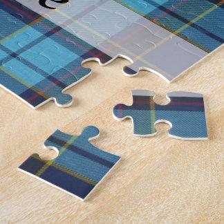 Blue tartan plaid puzzle