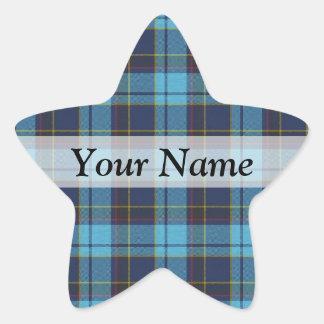 Blue tartan plaid star sticker