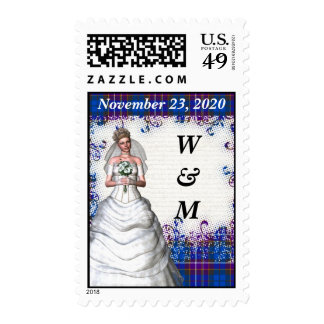 Blue  tartan save the date postage