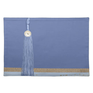 Blue Tassel, Leaf Accent, Abstract Gold, Blue Cloth Placemat