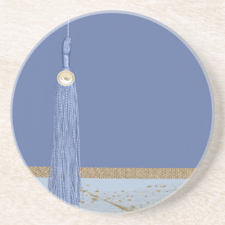 Blue Tassel, Leaf Accent, Abstract Gold, Blue Coaster