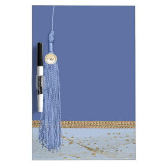 Blue Tassel, Leaf Accent, Abstract Gold, Blue Dry-Erase Board