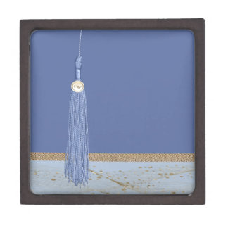 Blue Tassel, Leaf Accent, Abstract Gold, Blue Gift Box