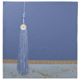 Blue Tassel, Leaf Accent, Abstract Gold, Blue Napkin