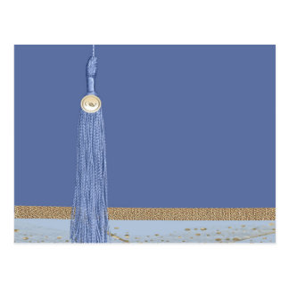 Blue Tassel, Leaf Accent, Abstract Gold, Blue Postcard