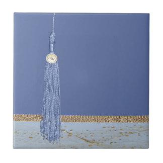 Blue Tassel, Leaf Accent, Abstract Gold, Blue Tile
