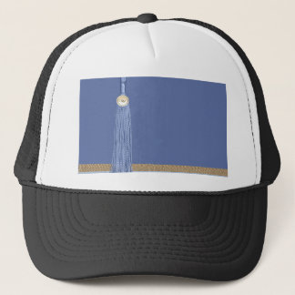 Blue Tassel, Leaf Accent, Abstract Gold, Blue Trucker Hat