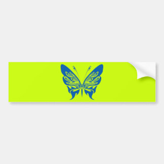 BLUE TATTOO BUTTERFLY GRAPHIC LOGO BUMPER STICKER