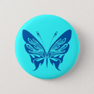 BLUE TATTOO BUTTERFLY GRAPHIC LOGO BUTTON
