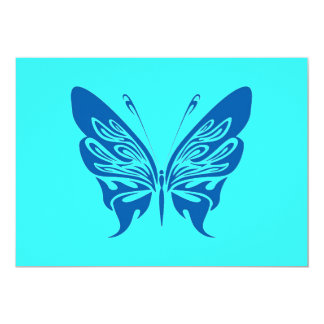 BLUE TATTOO BUTTERFLY GRAPHIC LOGO 5X7 PAPER INVITATION CARD