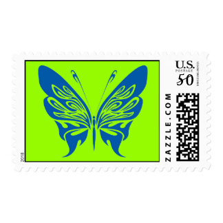 BLUE TATTOO BUTTERFLY GRAPHIC LOGO POSTAGE