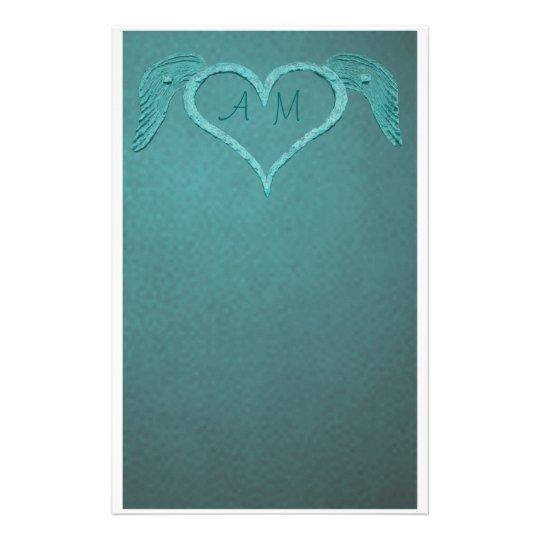 Blue Tattoo Heart Stationery