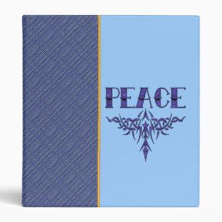 Blue Tattoo Peace Art 3 Ring Binder