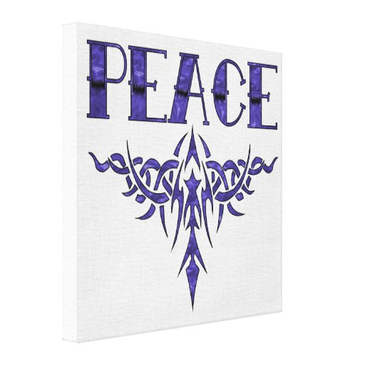 Blue Tattoo Peace Art Canvas Print