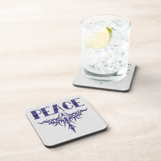 Blue Tattoo Peace Art Beverage Coaster