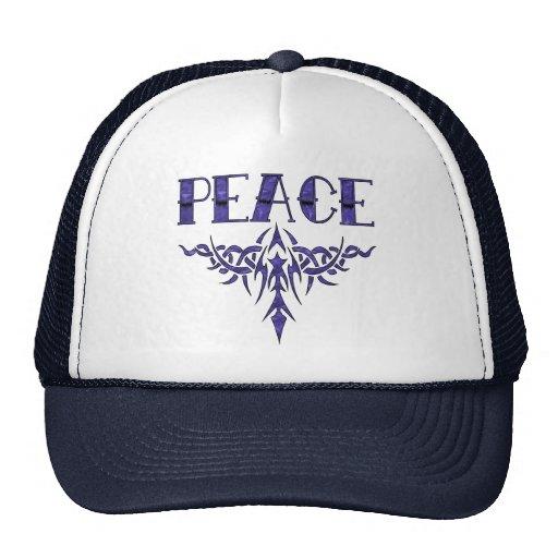 Blue Tattoo Peace Art Mesh Hats