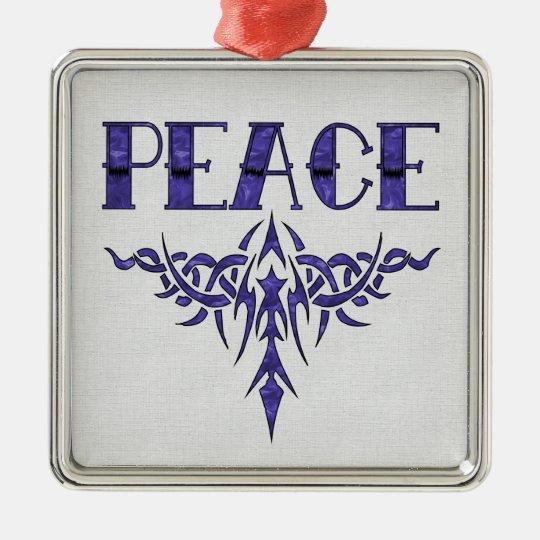 Blue Tattoo Peace Art Metal Ornament