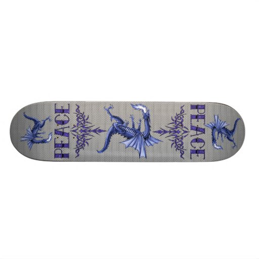 Blue Tattoo Peace Art Skate Deck