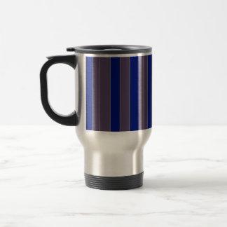 Blue taupe stripe travel mug