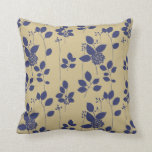 Blue Taupe Tan Brown Floral Pattern Throw Pillow