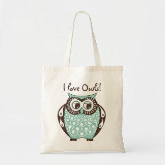 Blue Tawny Owl I Love Owls Tote Bag