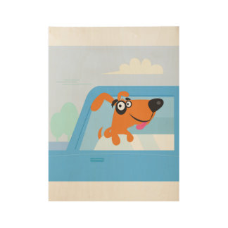 Blue taxi dog Wooden kids poster