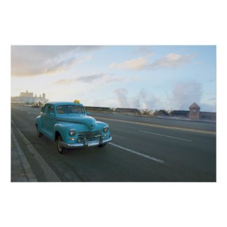 Blue Taxi Havana Malecon sunset Poster