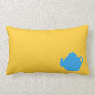 Blue tea pot throw pillow
