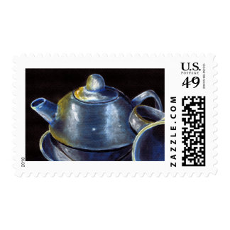 Blue Tea Set Postage (Lori Corbett)
