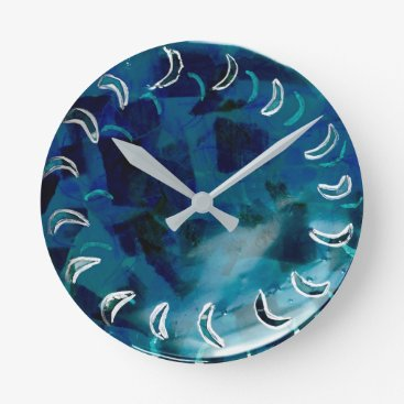 Blue Teal Abstract Watercolor Round Clock