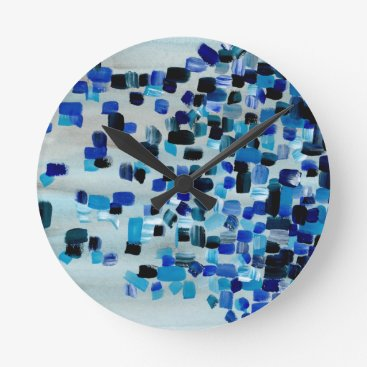 Blue Teal Abstract Watercolor Square Pattern Round Clock