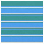 [ Thumbnail: Blue, Teal, and Beige Lines/Stripes Pattern Fabric ]