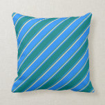 [ Thumbnail: Blue, Teal, and Beige Lines/Stripes Pattern Pillow ]