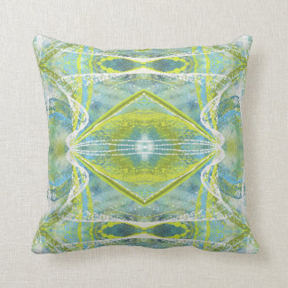 Blue, Teal and Green Abstract Throw Pillow