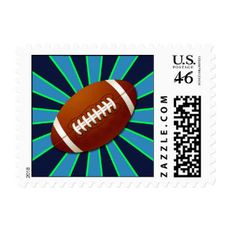 Blue Teal and Green Team Colors Retro Football Stamp
