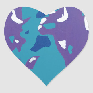 Blue, Teal, and Purple Abstract Art Heart Sticker