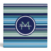 Blue Teal And White Striped Pattern Name School 3 Ring Binder