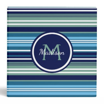 Beach Themed Blue Teal And White Striped Pattern Name School 3 Ring Binder