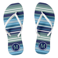 Blue Teal And White Summer Stripes Flip Flops