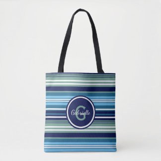 Blue Teal And White Summer Stripes Tote Bag