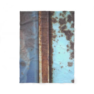 Blue teal brown custom antique car, rusted metal fleece blanket
