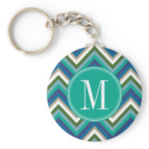Blue & Teal Chevron Pattern with Monogram Keychain