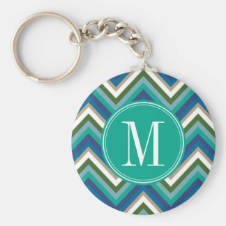 Blue & Teal Chevron Pattern with Monogram Keychain